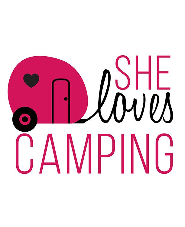 she loves camping logo