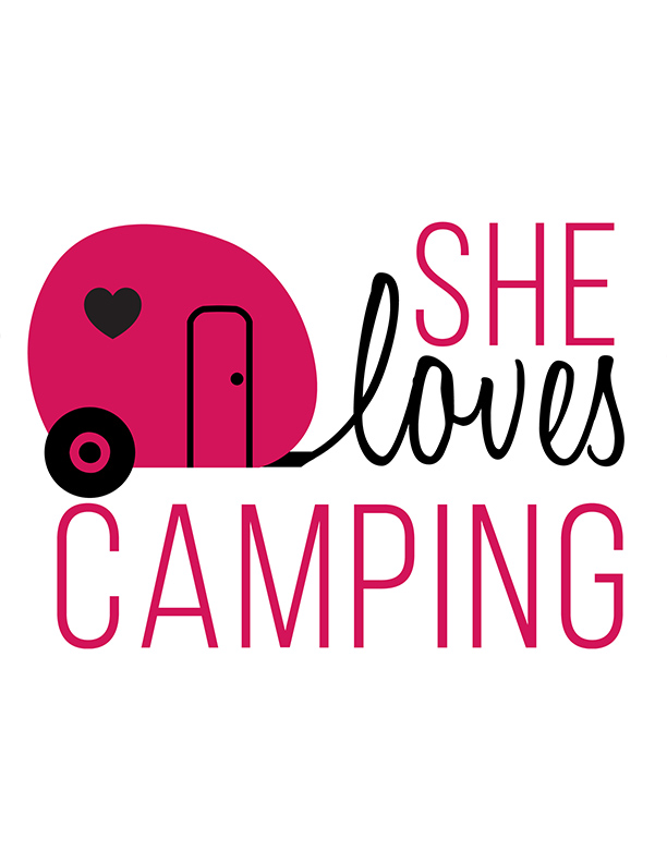 she loves camping logo