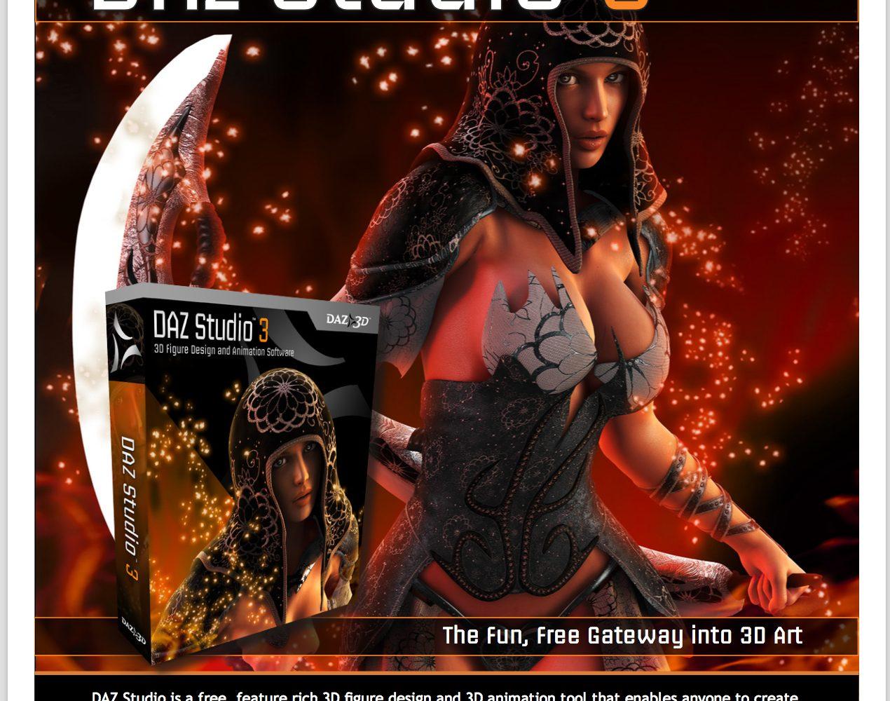 Daz Studio Promotional Flyer Front