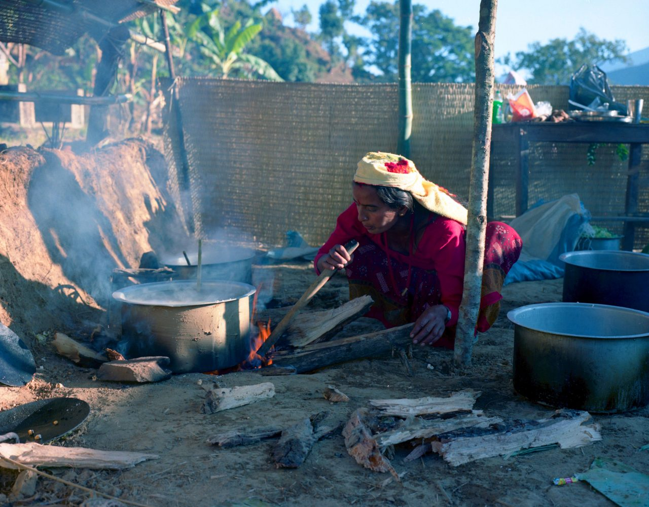 Nepal woman and fire