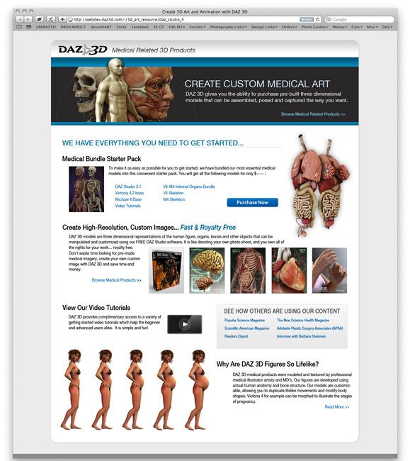 Daz 3D Medical Landing Page