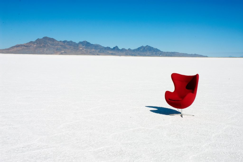 Red chair on salt flats